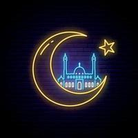 Ramadan Kareem neon sign. Vector banner neon style. Islamic greeting design.