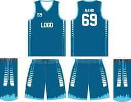 camiseta de baloncesto y pantalones cortos delante y detrás vector