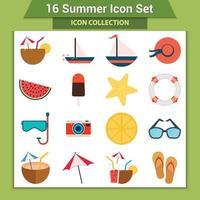 conjunto de iconos de vacaciones de verano vector