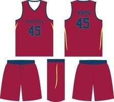 uniforme de baloncesto pantalones cortos de jersey maquetas vector