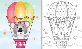 libro para colorear para niños con un lindo koala en globo aerostático vector
