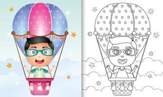 libro para colorear para niños con un niño lindo en globo aerostático vector