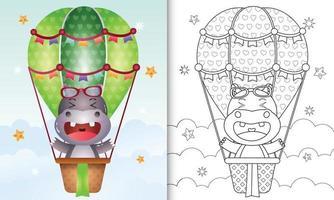 libro para colorear para niños con un lindo hipopótamo en globo aerostático vector