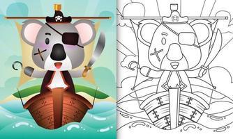 libro para colorear para niños con una linda ilustración de personaje de koala pirata vector