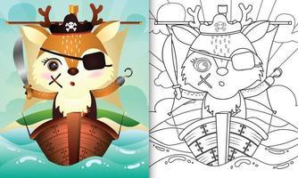 libro para colorear para niños con una linda ilustración de personaje de ciervo pirata vector