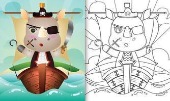 libro para colorear para niños con una linda ilustración de personaje de rinoceronte pirata vector