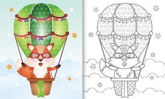 libro para colorear para niños con un lindo zorro en globo aerostático vector