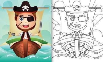 libro para colorear para niños con una linda ilustración de personaje de niño pirata vector