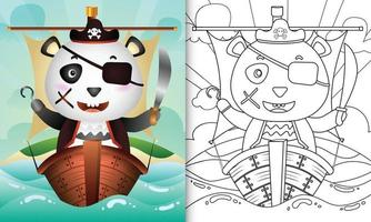 libro para colorear para niños con un lindo personaje de oso panda pirata vector