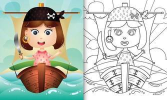 libro para colorear para niños con una linda ilustración de personaje de niña pirata vector