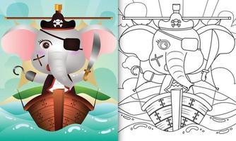 libro para colorear para niños con una linda ilustración de personaje de elefante pirata vector