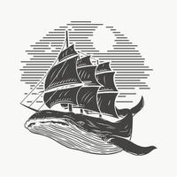 Ilustración ballena y barco, boceto vector premium.