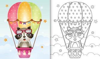 libro para colorear para niños con un lindo mapache en globo aerostático vector