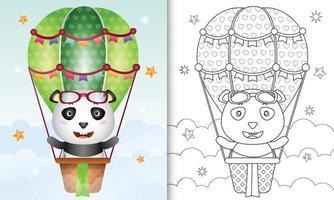 libro para colorear para niños con un lindo panda en globo aerostático vector