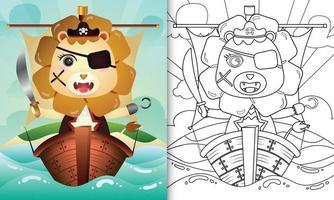 libro para colorear para niños con una linda ilustración de personaje de león pirata en el barco