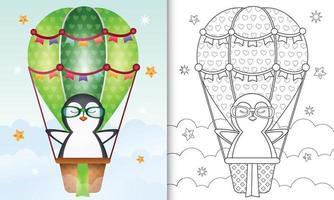 libro para colorear para niños con un lindo pingüino en globo aerostático vector