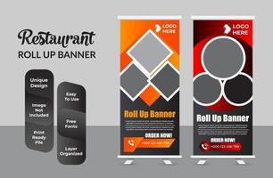 restaurante de comida rápida roll up banner conjunto de plantillas vector