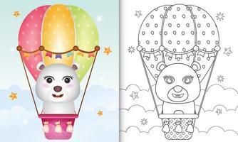 libro para colorear para niños con un lindo oso polar en globo aerostático vector