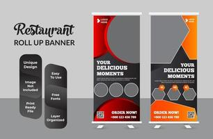 banner enrollable de comida para restaurante vector