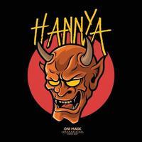 Hannya es una máscara japonesa, que representa a un demonio femenino celoso o una serpiente vector premium.