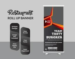 negocio de restaurante roll up banner diseño de plantilla vector