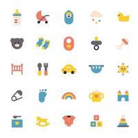 conjunto de iconos de bebé. lindo icono de forma simple. vector