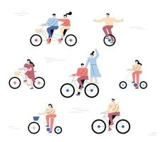 People riding bikes. A collection of bikers in a simple form.