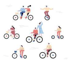 personas en bicicleta. una colección de ciclistas de forma sencilla. vector