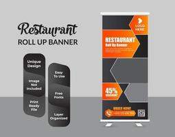 Plantilla de diseño de banner enrollable de comida moderna vector