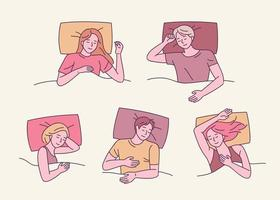 una colección de varias poses para dormir. la gente duerme en varias posiciones. ilustraciones de diseño vectorial. vector