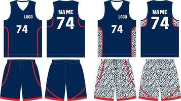 pantalones cortos de jersey de baloncesto reversibles vector
