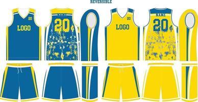 camiseta y pantalones cortos de baloncesto reversibles vector