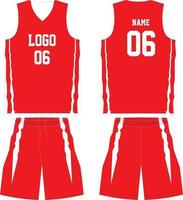 conjunto de uniforme de diseño de camiseta de baloncesto vector