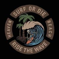 ride the wave.premium vector