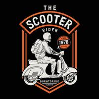 scooter classic on the ride.premium vector