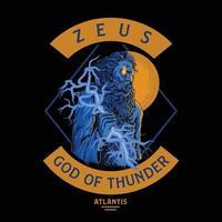 Zeus, dios del trueno vector premium.