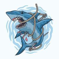 shark hunter,entangled of arrow rope.premium vector