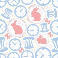 SEAMLESS COLOURFUL PASTEL RABBIT WITH CLOCK AND HAT PATTERN BACKGROUND WONDERLAND THEME vector