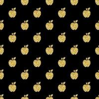 Fondo de patrón de sello de manzana de brillo dorado transparente