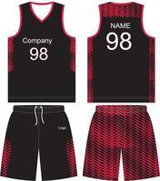 kit de uniforme de camiseta de baloncesto de diseño personalizado vector