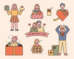 People holding Valentine's Day gifts. Gift concept character icon.