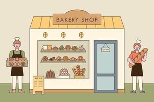 A bread shop and a baker character with delicious bread. Man and woman bakers greet in front of the bakery with bread.