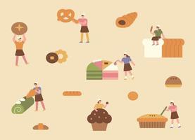 delicioso pan y pequeño panadero. simples personajes panaderos están haciendo pan grande. composición del patrón.
