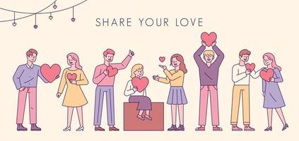 Share your love. People are standing in a line with hearts in their hands.