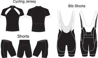 custom design cycling jersey Bib Shorts vector
