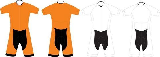 traje de ciclismo de manga corta en blanco vector