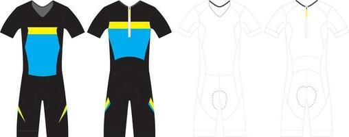 traje de ciclismo de manga corta de triatlón para hombre vector