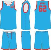 maquetas de uniforme de baloncesto de cuello redondo sublimado vector