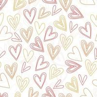 seamless valentine day pattern background with doodle multicolour heart shape vector
