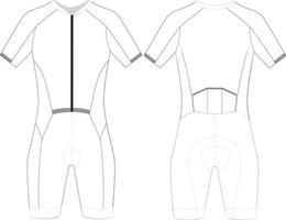 traje de ciclismo personalizado de manga corta en blanco vector